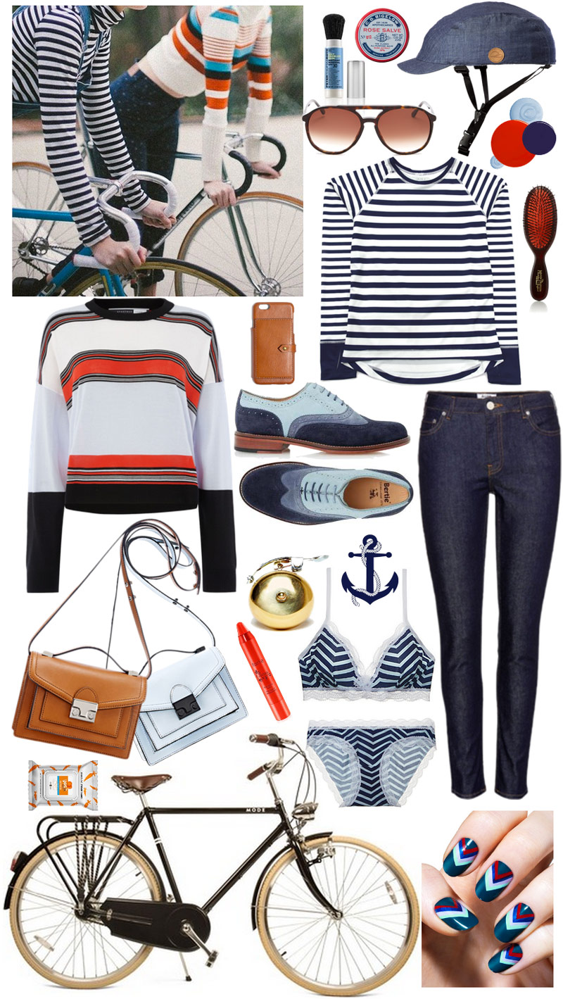 Navy Blue Striped Camille Tee / Denim Cover Bike Helmet / Sportmax Sweater / Acne Studios Raw Jeans / Chevron Bra Set / Suede Colorblock Oxford Brogues / Loeffler Randall Mini Rider Satchel in Cuio and Pale Blue / Aviator Sunglasses / Leather iPhone 6 Wallet Case / Orange-Red Lip Stain / Mineral Powder Sunscreen / Mason Pearson Pocket Brush / Rose Salve / Brass Bike Bell / Fragrance Free Wipes / Mozie Bicycle