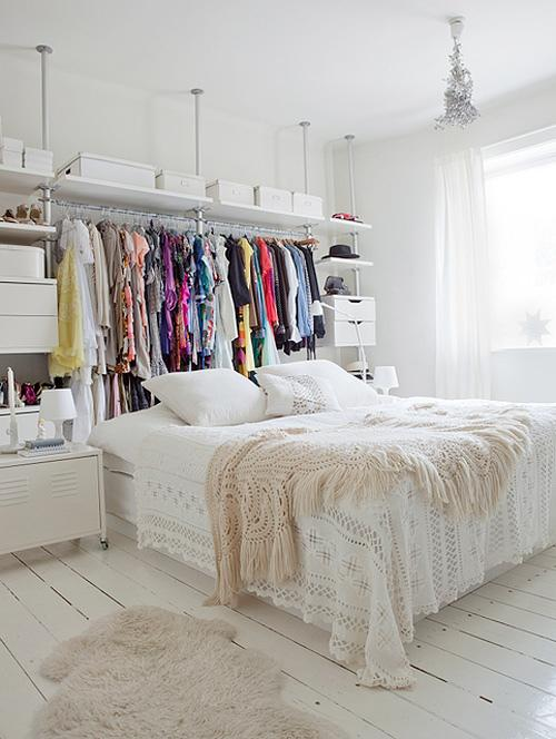 For A Truly Creative Alternative Closet Setup That Doesnu0027t Require Its Own  Room, Try Storing Your Clothes Behind Your Bed. This Storage Space Is  Functional, ...