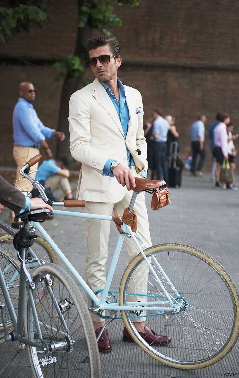 Cycle chic menswear in Florence, via WIMIRY