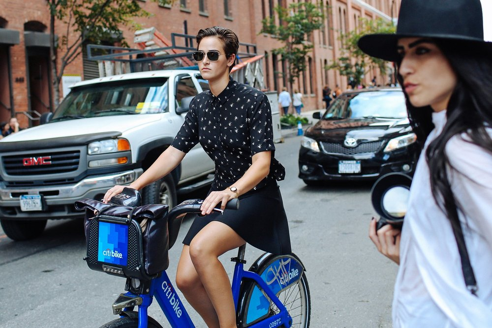 Ultra sleek bike fashion, Citi Bike style. Photo via Vogue.com