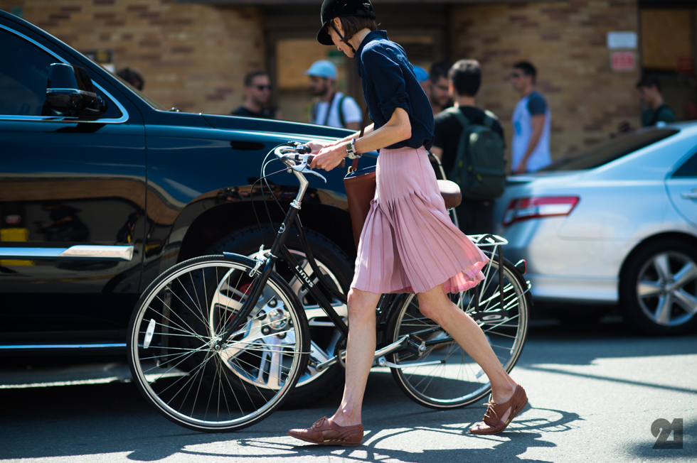 Laura Nielsen getting her bike after the Thakoon show at New York Fashion Week Spring 2016. Photo by Adam Katz Sindig