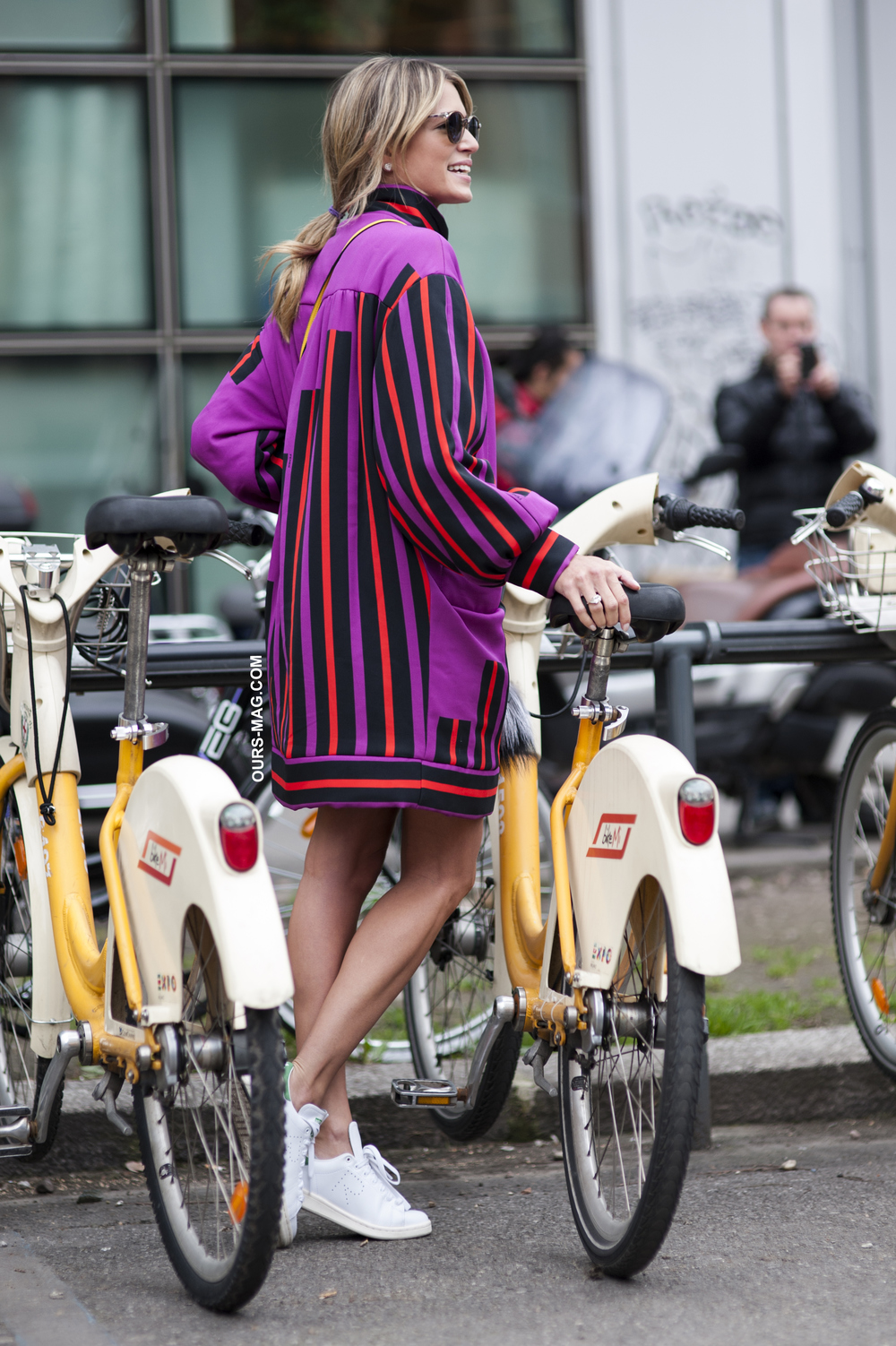 Fantastic Fendi stripes and comfy sneakers during Milan Fashion Week AW15.