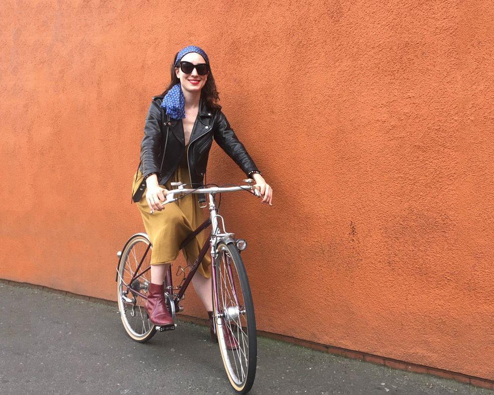 Kelly rides a step-through from Map Bicycles at the North American Handmade Bicycle Show, photo by @moveon2wheels