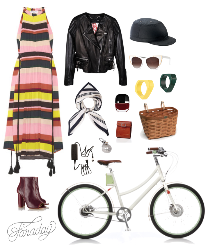 Left to Right, Clockwise: Apiece Apart Rosa Striped Sundress | Barbara Bui Lambskin Biker Jacket | Yakkay Paris Oilskin Helmet | Thierry Lasry Butterscotchy Cat-Eye Sunglasses | Marni yellow resin cuff bracelet | Marni hunter green resin cuff bracelet | Peterboro bicycle basket | Faraday Cortland 8-speed Step-Through | Maiyet oxblood peep-toe booties | Viyella Striped Silk Scarf | Marc Jacobs Beauty nail varnish | The Porteur Leather Lock Holder | Spurcycle Bell | Faraday Extra Charger