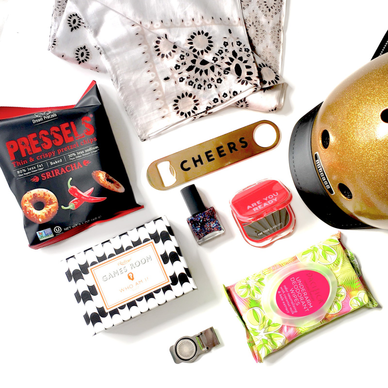 The #MustHaveBox shown with the Gold Nutcase Helmet and the Tandem NY Skirt Weight