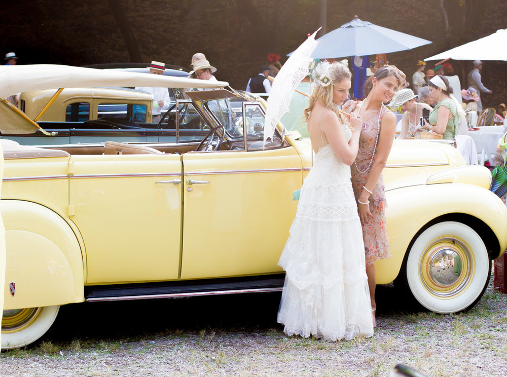 Posing with the vintage cars at the Gatsby Summer Afternoon. All photos by me, Melissa Davies.