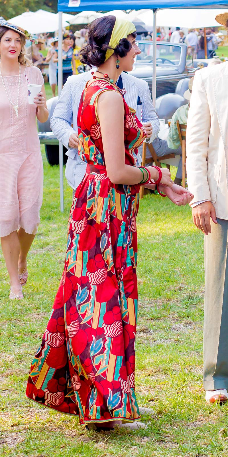 This. This is why  beach pajamas  are the greatest. Just look at that art deco print and the rich colors of the scarf-weight silk twill. Even the little striped edging at the hem. Simply stunning.