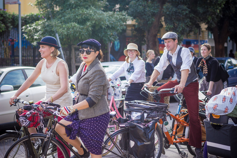 Melinda Stockmann Sullivan, Mary Kay Chin, and more friends at the San Francisco Tweed Ride 2016.