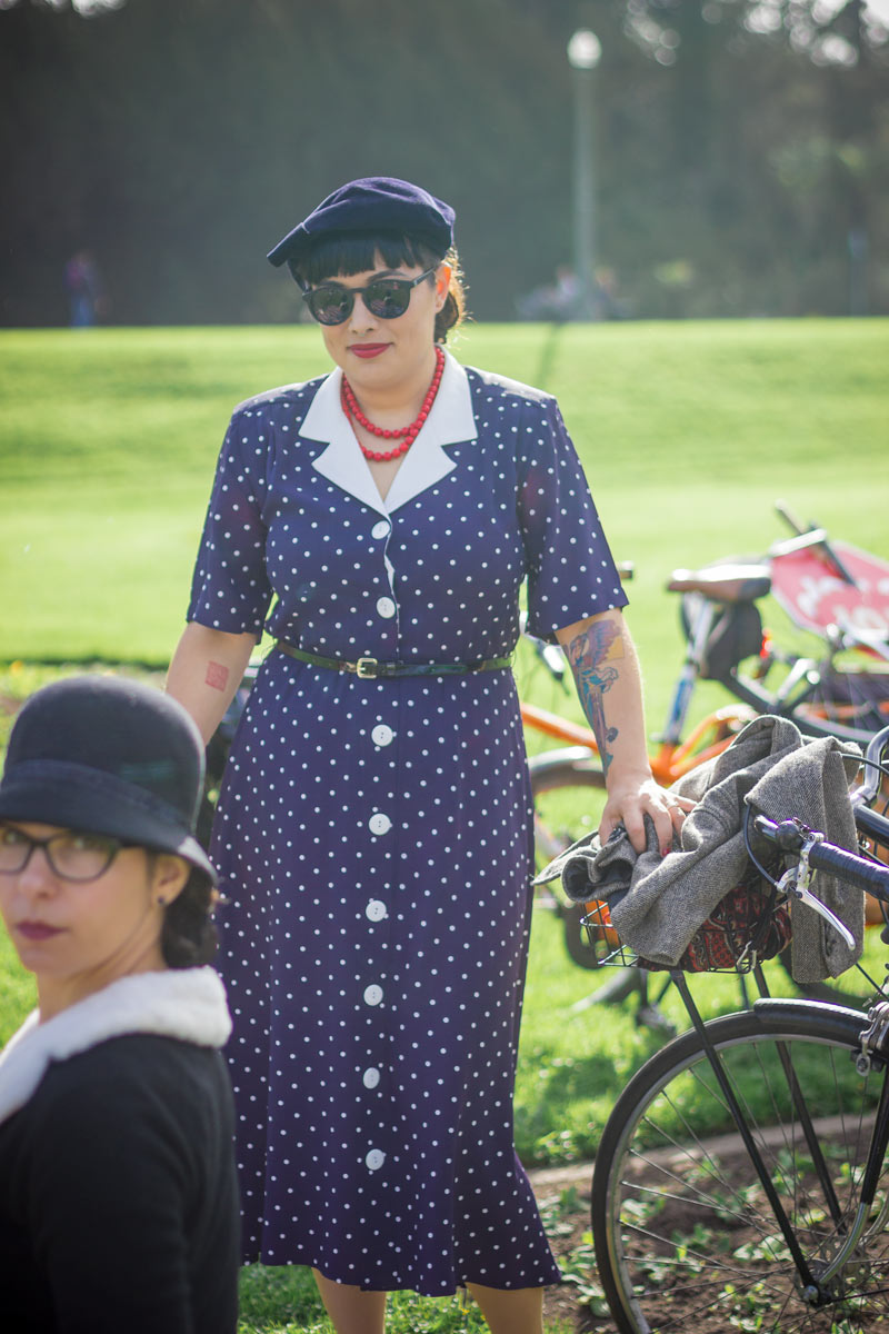 Mary Kay Chin stuns in her 80s-does-40s polka dot frock.