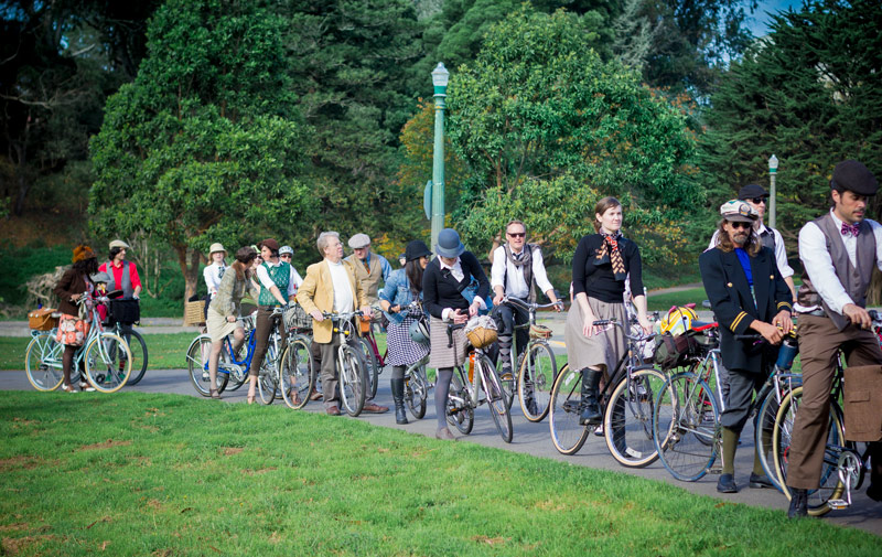 This was about half the group, lined up to exit Golden Gate Park.