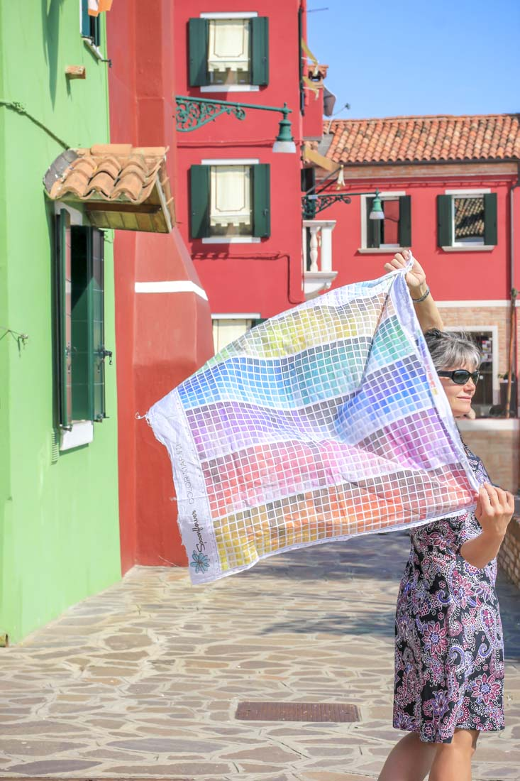 My very elegant mother is showing off a digitally printed concept scarf I've been working on. This one uses a color chart as the inspiration.