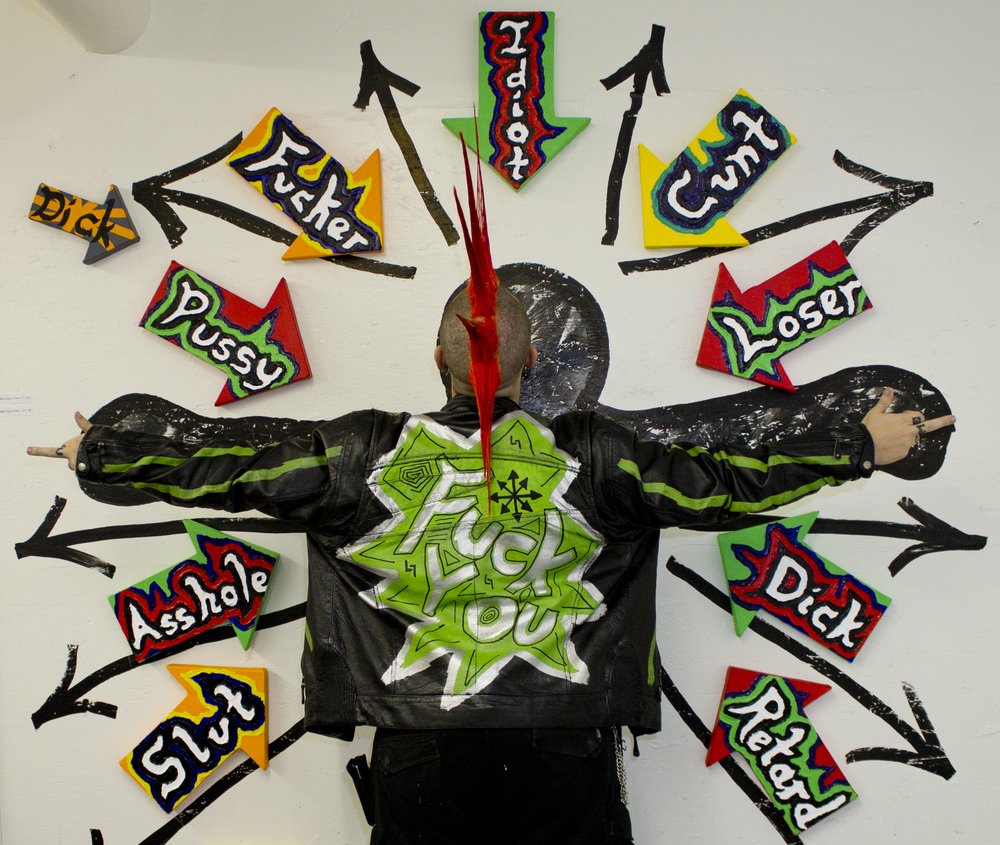 "Bodlar with his installation ""Angry Arrows"""
