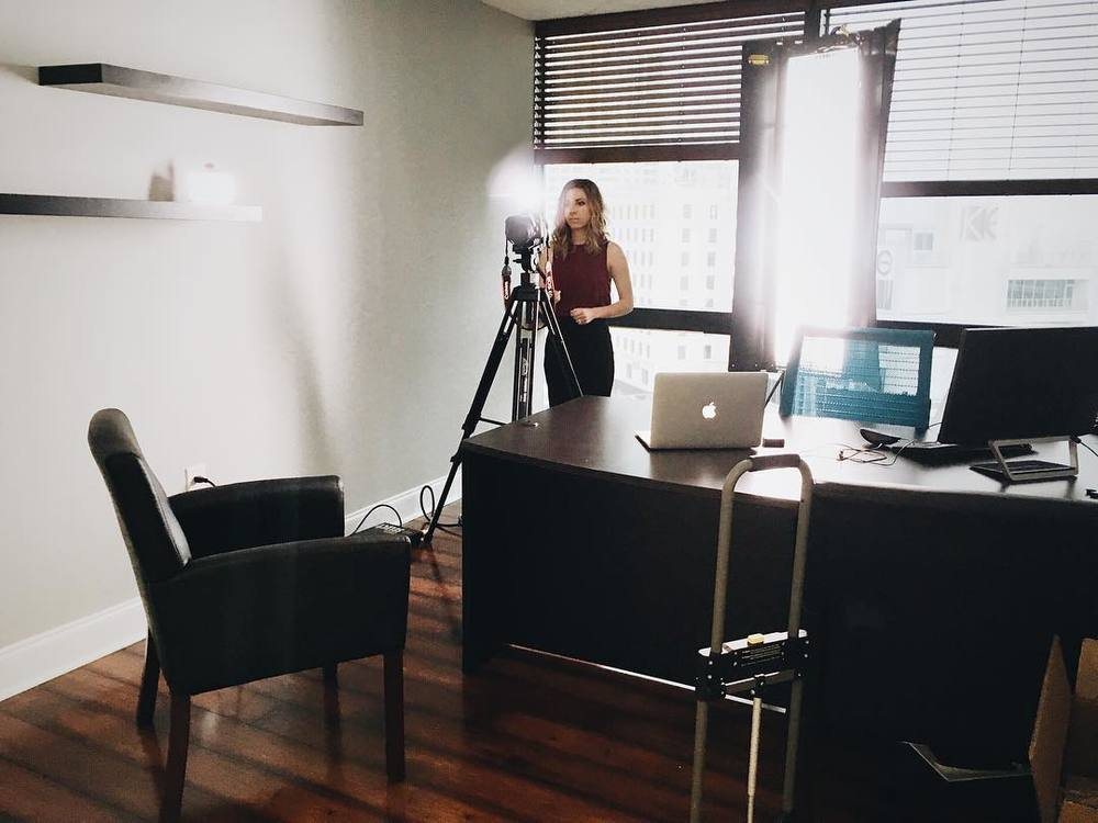 Behind the scenes for one of the interview locations at PRMI's office in Las Olas.