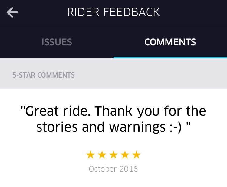 Uber partner app - Rider Feedback screen