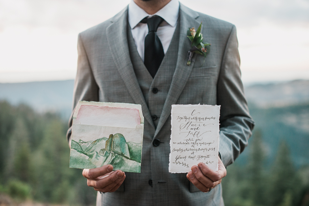 Butte Meadows Vow Renewal - Groom Holding Stationery
