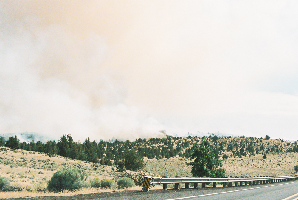 Fire along highway 97 - Portra 400 on Nikon N90s