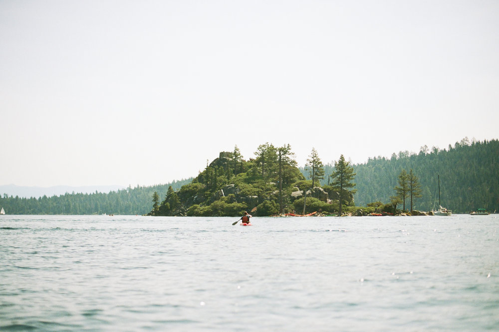 Matt kayaking towards Fennet Island in Emerald Bay. | Nikon F100 on Portra 400