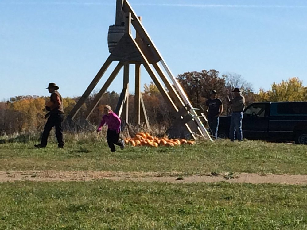 Trebuchet throwing pumpkins!!