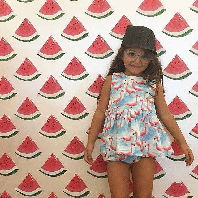 #flamingoemoji + 🍉 = weekend #kidsfashion #madeinusa #whomademyclothes #brooklynrascals #sonsanddaughterseyewear