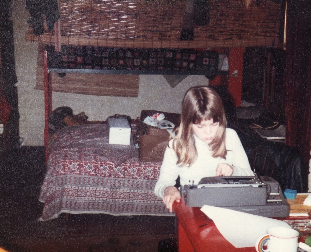 Hard at work on my first novel, Diana the Duck, in 1979.