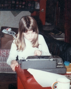 Hard at work on my first novel, Diana the Duck, in 1979