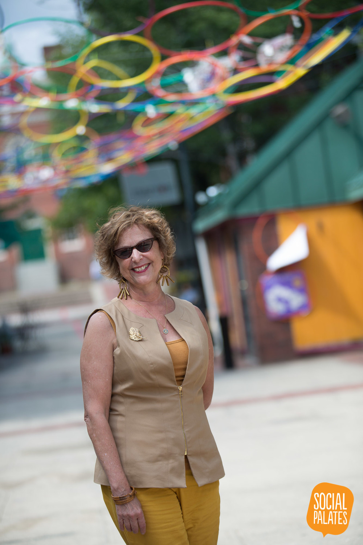 Deborah Greel on Artists Row - Salem MA - Hoops were part of a public art exhibition in conjunction with Salem Arts Festival