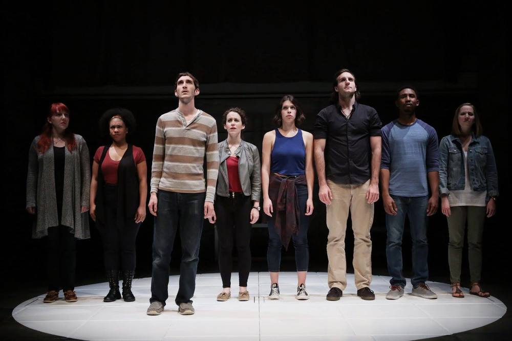 "Patrick (third from the left) and the cast of ETC's ""Love and Information""."