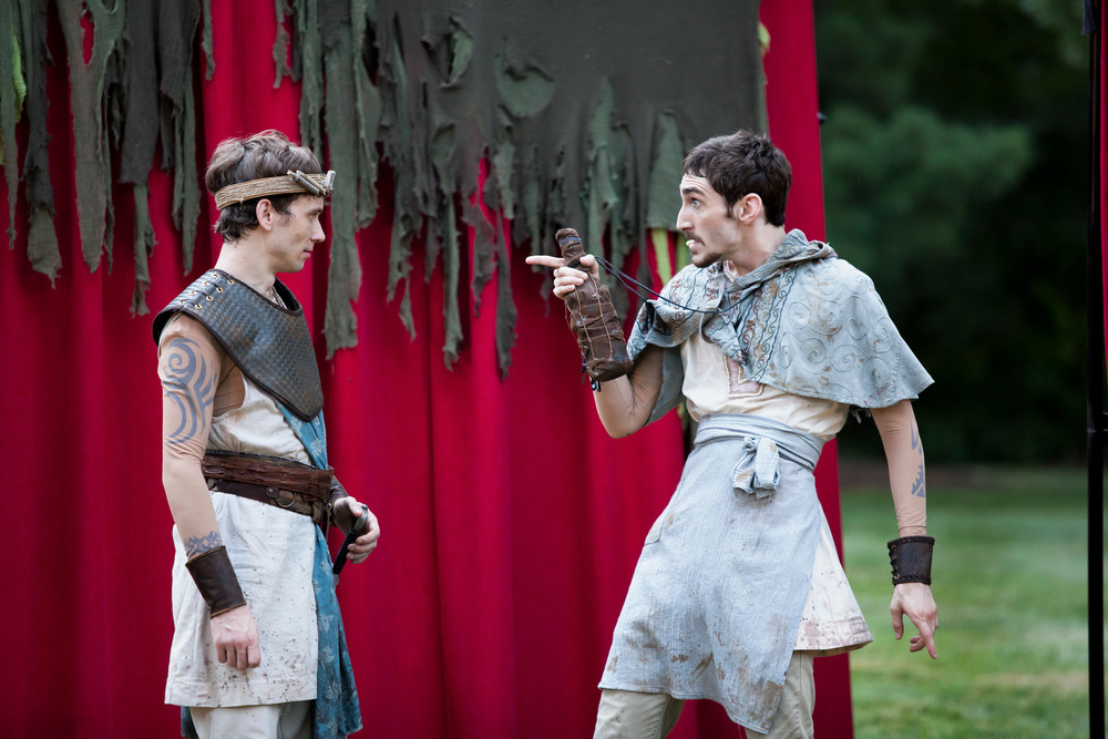 "Kyle Brumley as Macduff and Patrick E. Phillips as The Porter in Cincinnati Shakespeare Company's ""Macbeth."" Photo credit: Mikke Schaffner Photography."