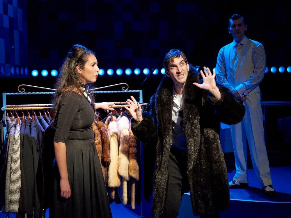 "Maya Farhate (Daphne), Patrick Earl Phillips (Joey) and Nathan Robert Pecchia in ""Fly By Night"" at Ensemble Theatre Cincinnati."