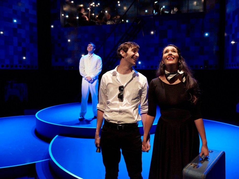 "Nathan Robert Pecchia (Narrator), Patrick Earl Phillips (Joey) Maya Farhat (Daphne) in ""Fly By Night"" at Ensemble Theatre Cincinnati."