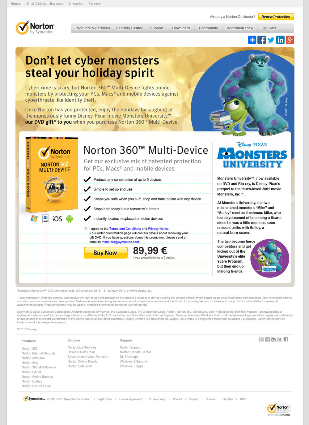 Monsters University Landing Page