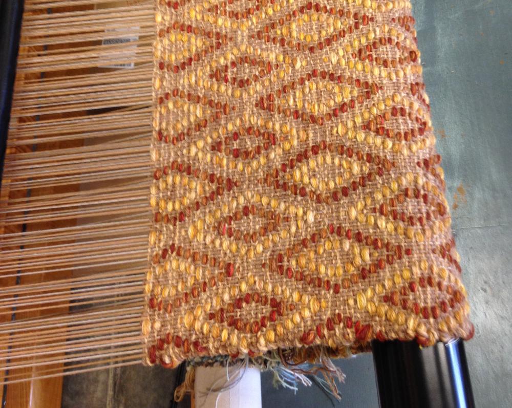 Handwoven rug sample. Diamond Design.