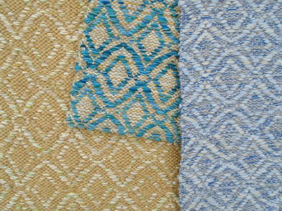 Adele Spring, Adele Turquoise and Adele Moonlight custom handwoven rugs