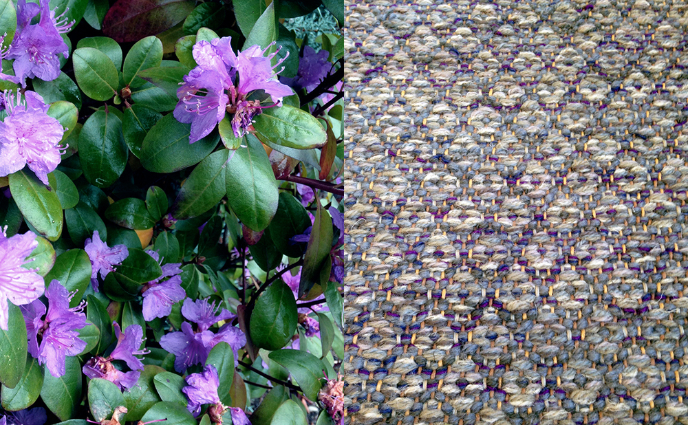 Some flowers and our Point Weave rug.