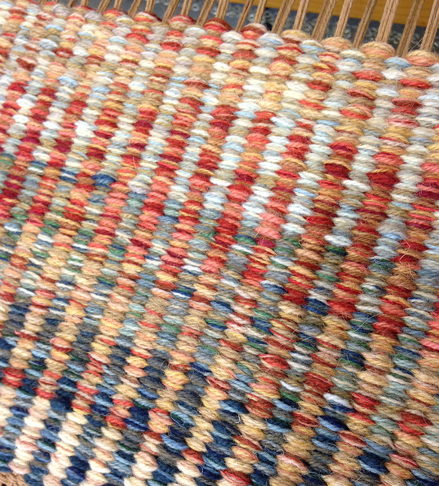 Columns - Custom Red/Blue sample handwoven rug.