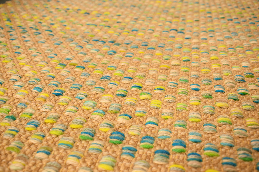 Closeup of Mosaic with hand painted yarn