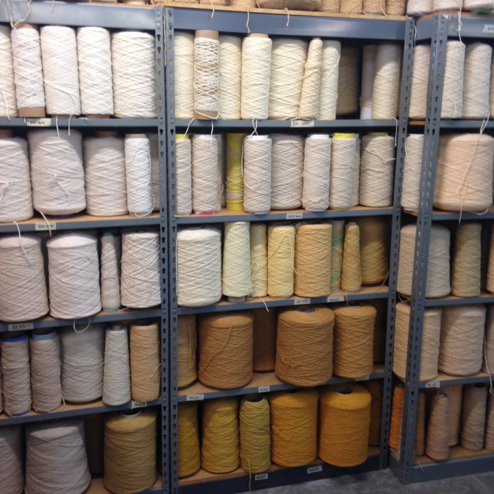 Shelving at True North Textiles.