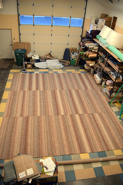 View of the rug in our studio.