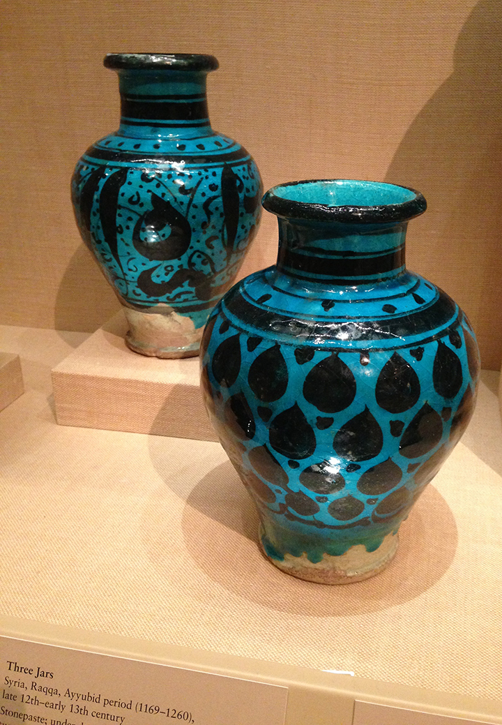 Three Jars from Syria at the Met. Love the glaze/color.