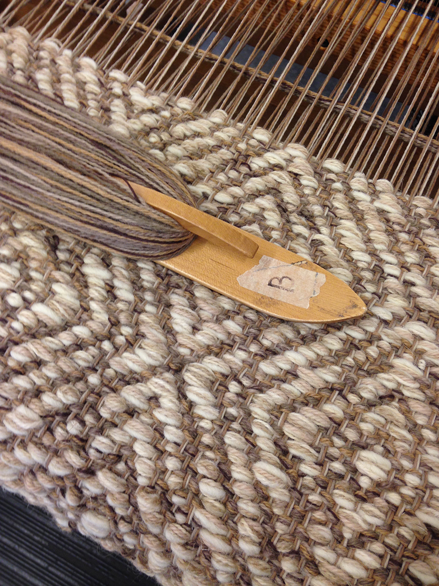 Creswell Taupe on the loom.