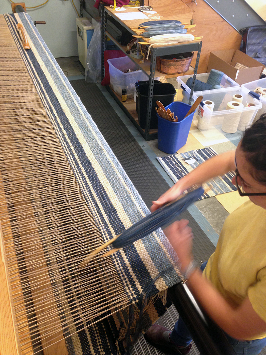 Michelle weaving navy stripes