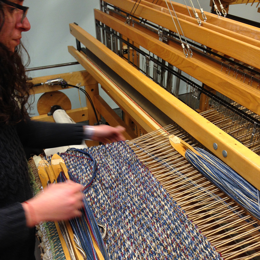 Michelle weaving the runners