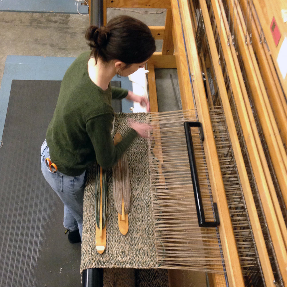 Meg Weaving Tiger Eye.