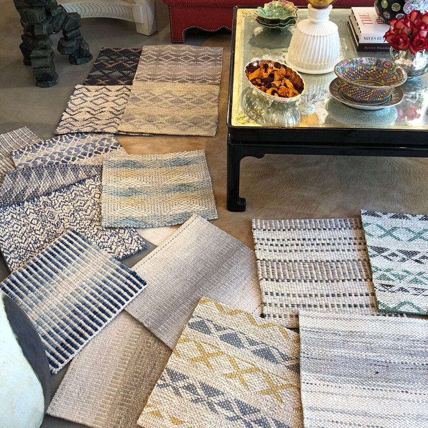 Samples on display with Stark Carpet at Allison Cacoma in San Francisco.