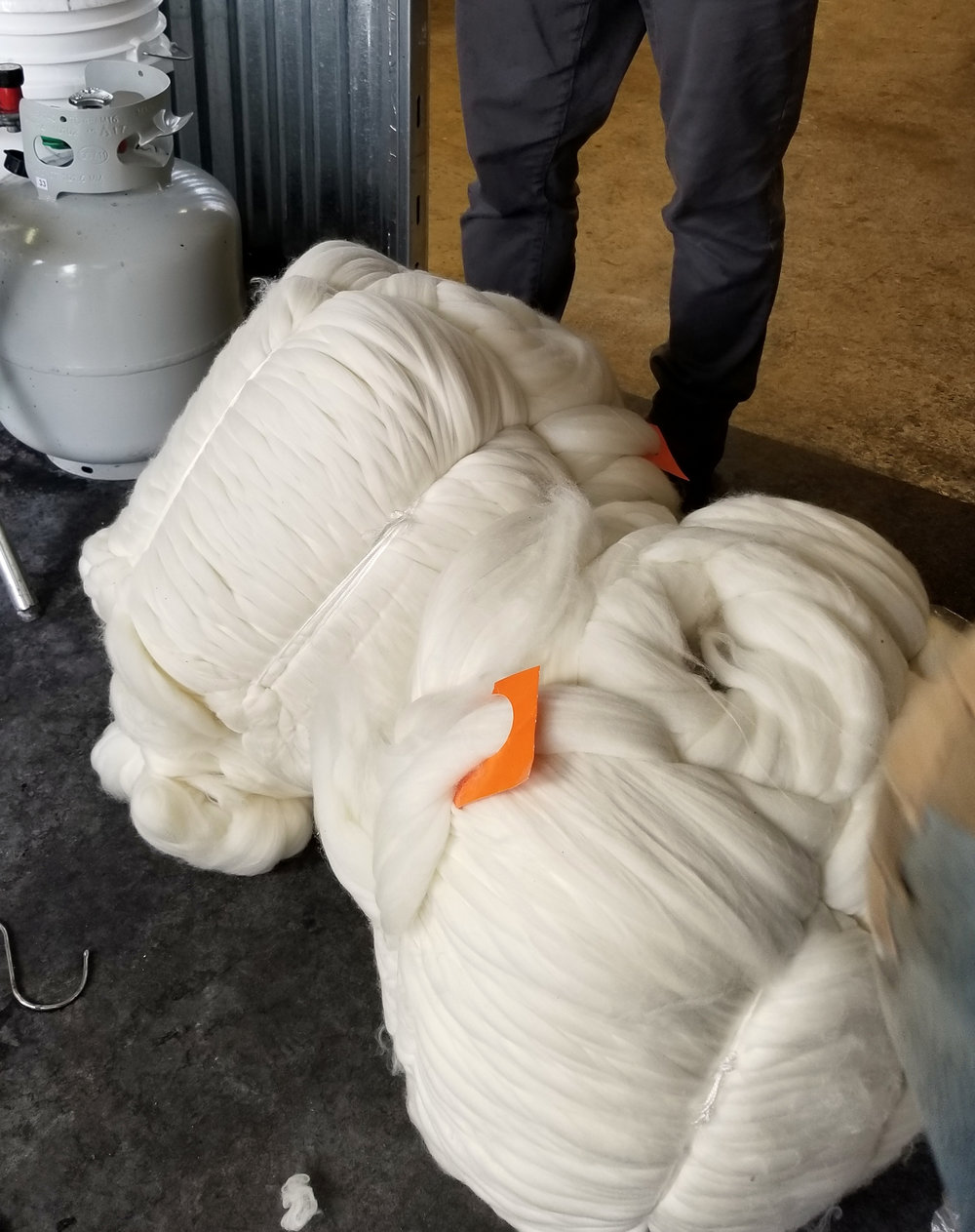 "Two ""bumps"" of wool before dyeing"