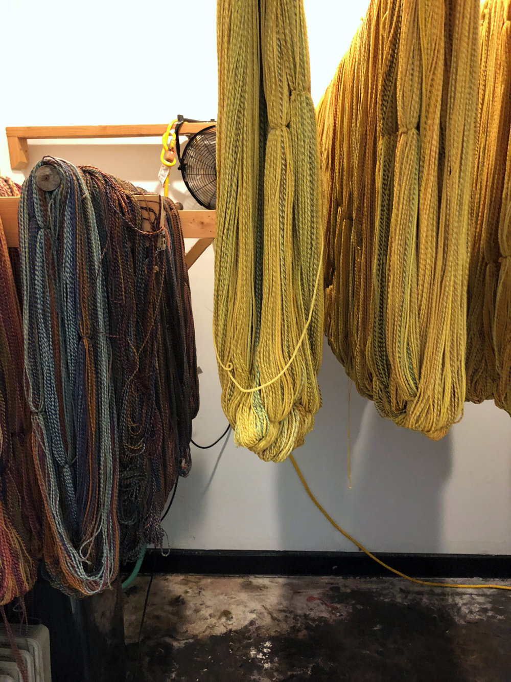 Finished yarn in the drying room