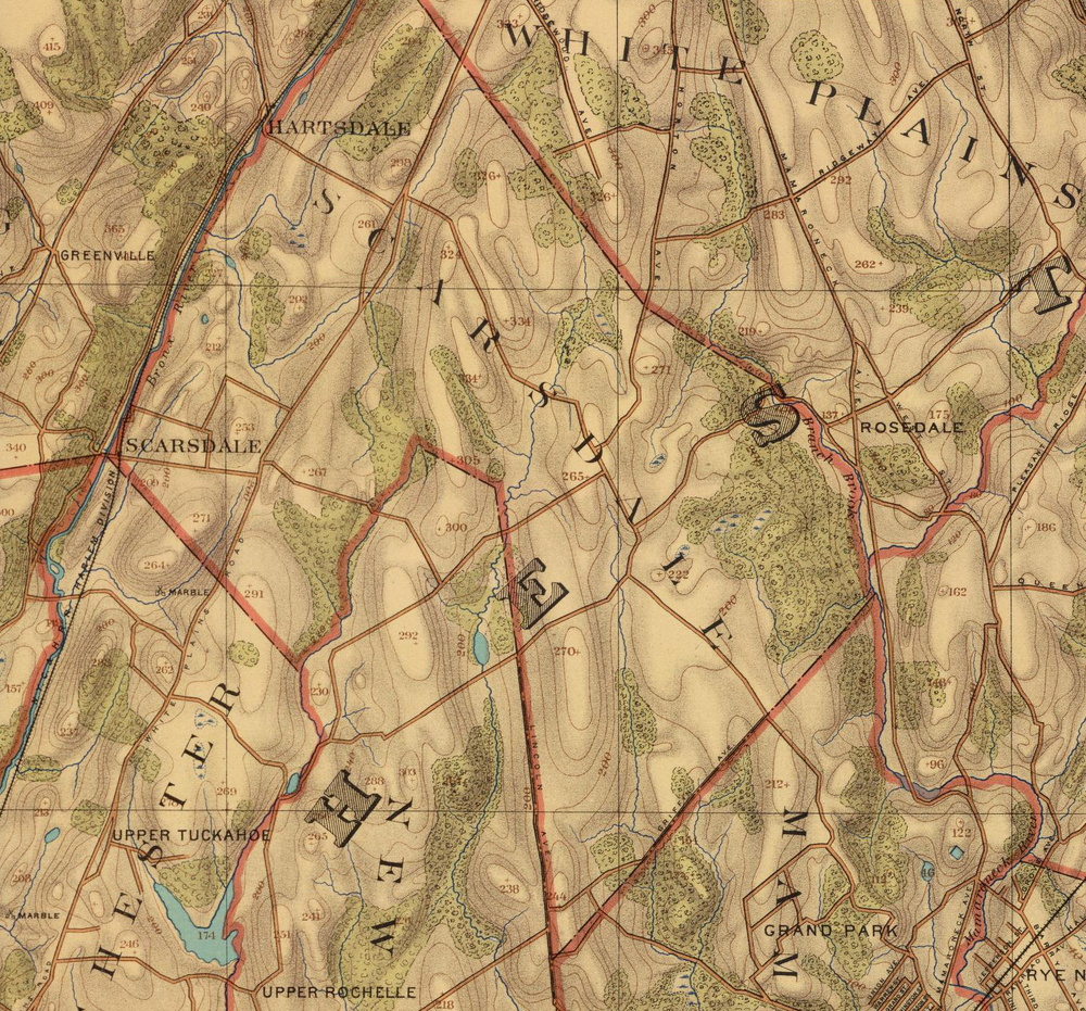 Detail of the Scarsdale area, topographic map, 1893.