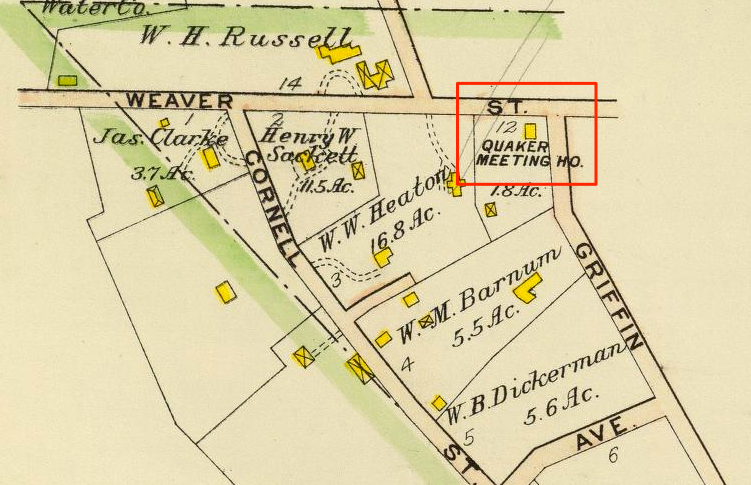 Detail from a 1910 map, showing the location of the Quaker Meeting House.