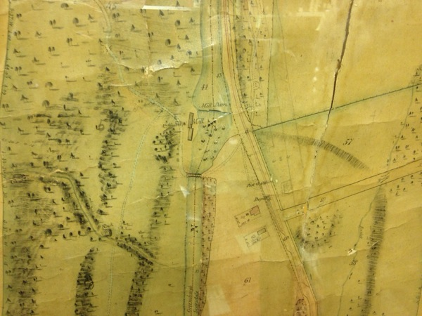 Detail of an 1851 map showing the mill dam, saw mill and bridge on the Bronx River.