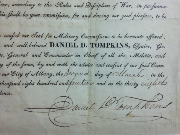 Appointment Letter from Daniel D. Tompkins, April 30, 1814
